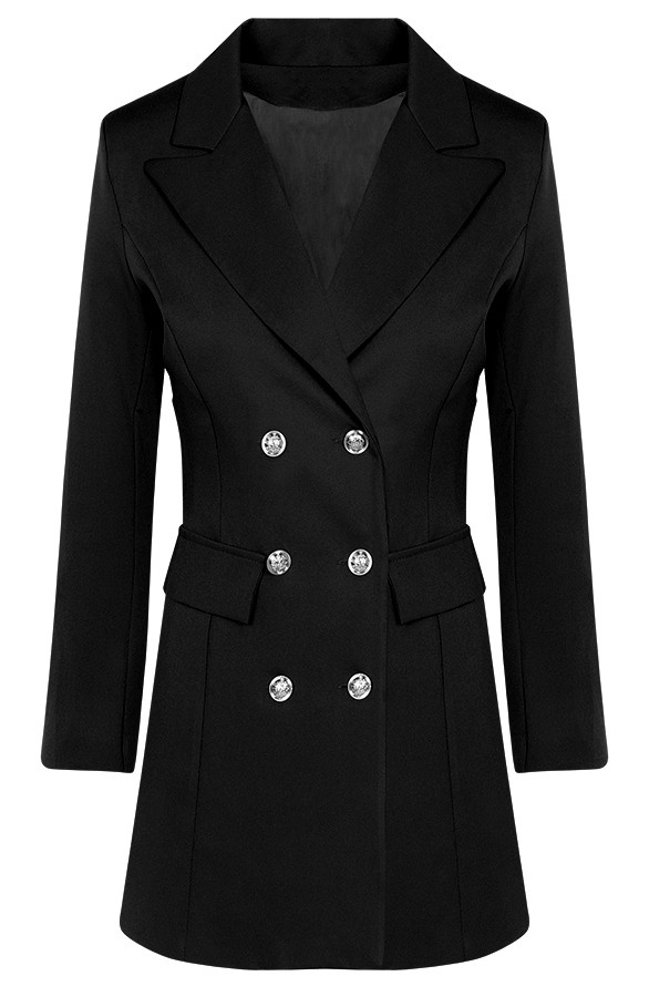 Lola Button Blazer Black