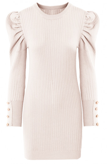 Louise-Stretch-Jurk-Beige'