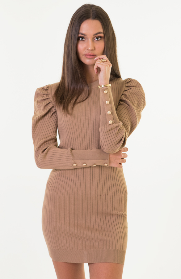 Louise-Stretch-Jurk-Taupe-1