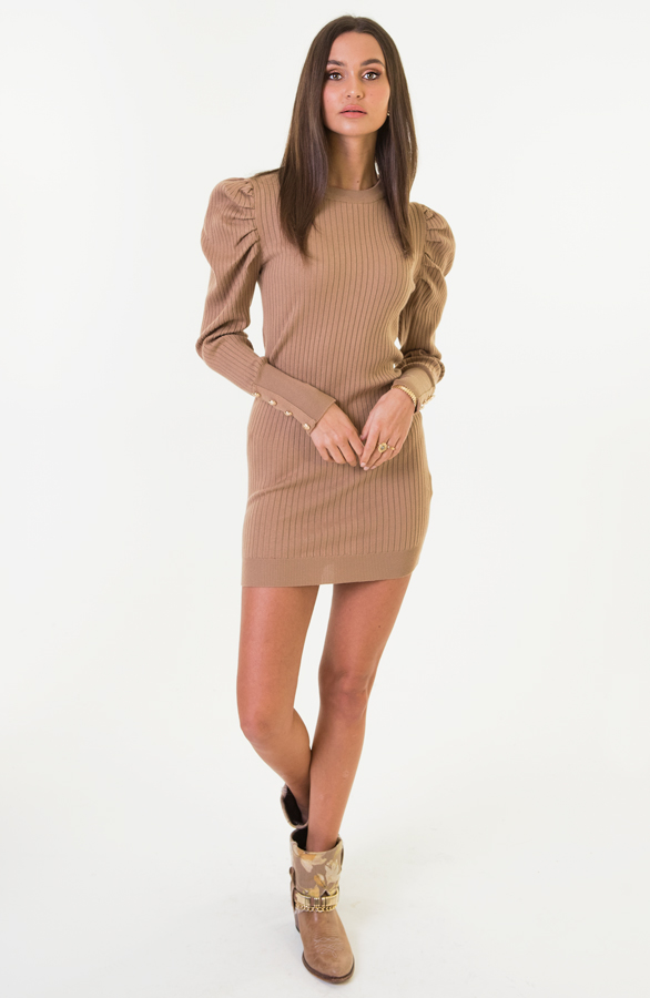 Louise-Stretch-Jurk-Taupe-2