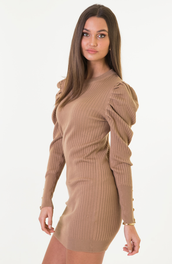 Louise-Stretch-Jurk-Taupe-3