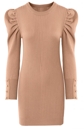 Louise-Stretch-Jurk-Taupe'