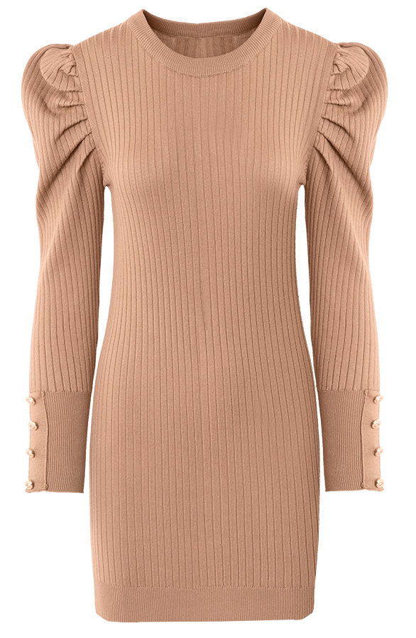 Louise-Stretch-Jurk-Taupe