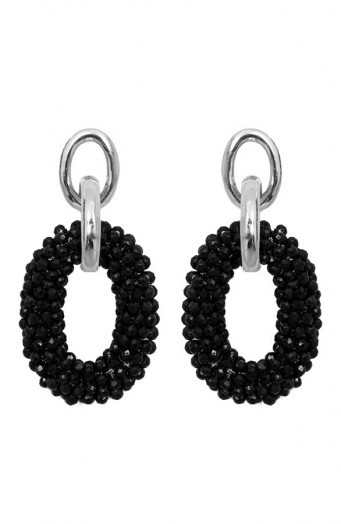 Bella-Oval-Earrings-Zilver-Zwart'