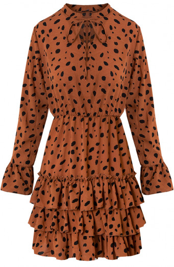 Evelyn-Cheetah-Ruches-Jurk-Cognac'