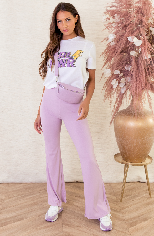 Pascalle-Flared-Broek-Ribstof-Lila-