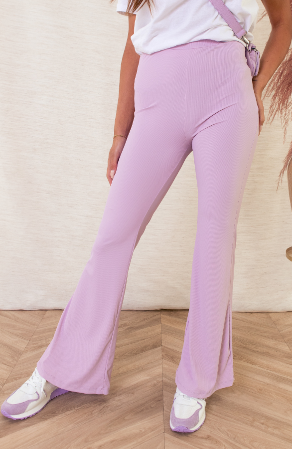 Pascalle-Flared-Broek-Ribstof-Lila-2